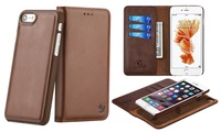 Deals on WalvoDesign Business Leather Card Wallet Pouch w/iPhone Case