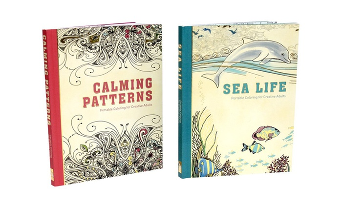 portable coloring book set for adults two pack hardcover adult coloring books - Adult Coloring Books 2