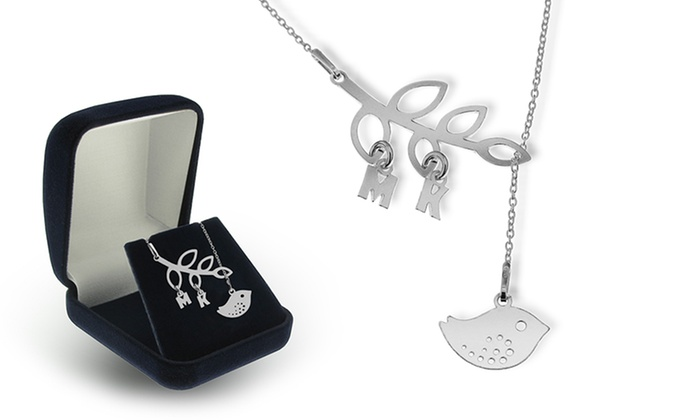 SilvexCraft Design: Personalized Bird Pendant with Initials (Free Shipping)