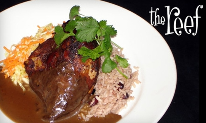 The Reef - Multiple Locations: $12 for $25 Worth of Eclectic Caribbean Cuisine and Drinks at The Reef