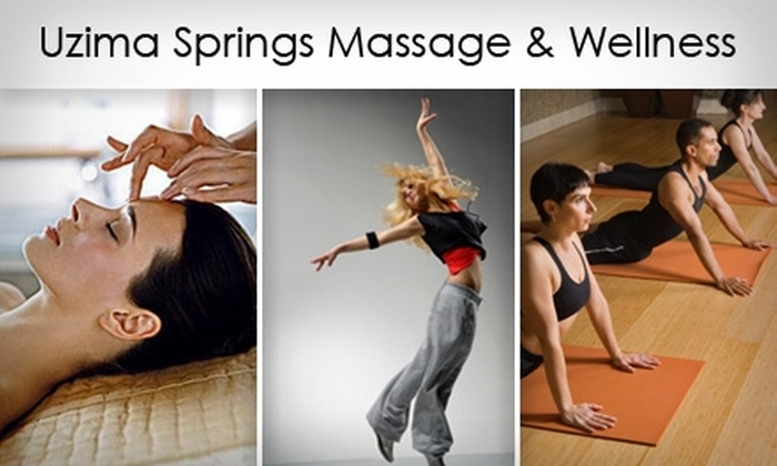 Uzima Springs Massage & Wellness - Knightdale: $30 for a Choice of Swedish Massage, Custom Facial, or Four Exercise Classes at Uzima Springs Massage & Wellness (Up to $75 Value)