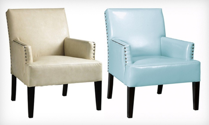 Home Decorators Collection: $179 for a Cooper Leather Armchair in Aqua or Cream. Shipping Included ($234 Total Value).