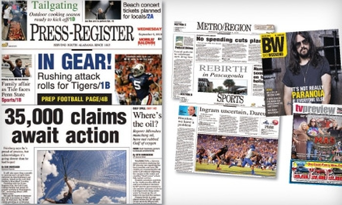 """""""Press-Register"""" - Mobile / Baldwin County: Subscription to the """"Press-Register"""" Newspaper. Two Options Available."""