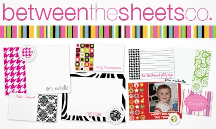 Between the Sheets Co.: $20 for $40 Worth of Personalized Paper Products and Invitations from Between the Sheets Co.