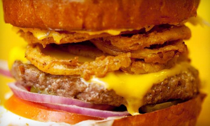 Rounds Premium Burgers - Multiple Locations: Burger Meals with Drinks and Fries for Two or Four at Rounds Premium Burgers (Up to 58% Off)