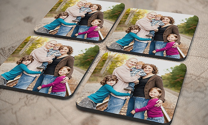 York Photo: One or Two Sets of Four Personalized Photo Coasters from York Photo (Up to 58% Off)