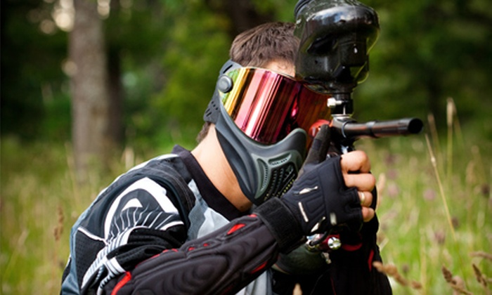 Whitewater Rafting Adventures - Nesquehoning: One-Day Paintball Outing with Cookout from Whitewater Rafting Adventures in Nesquehoning. Four Dates Available.