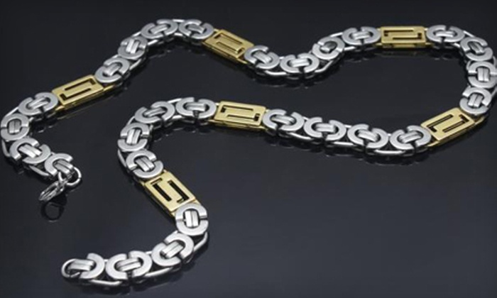 Blue Jade: $29 for a Men's Gold-Plated Stainless Steel Byzantine Chain Necklace from Blue Jade ($79 Value)