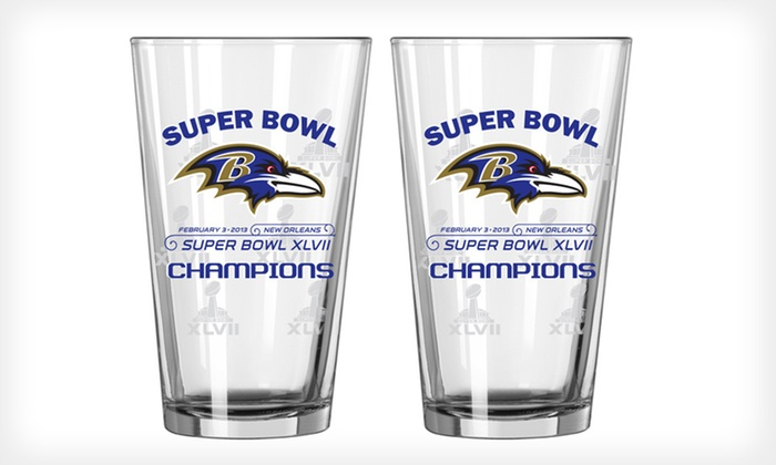 Baltimore Ravens Championship Pint Glasses: $19 for Two Baltimore Ravens Championship Pint Glasses ($27.98 List Price). Free Shipping and Free Returns.