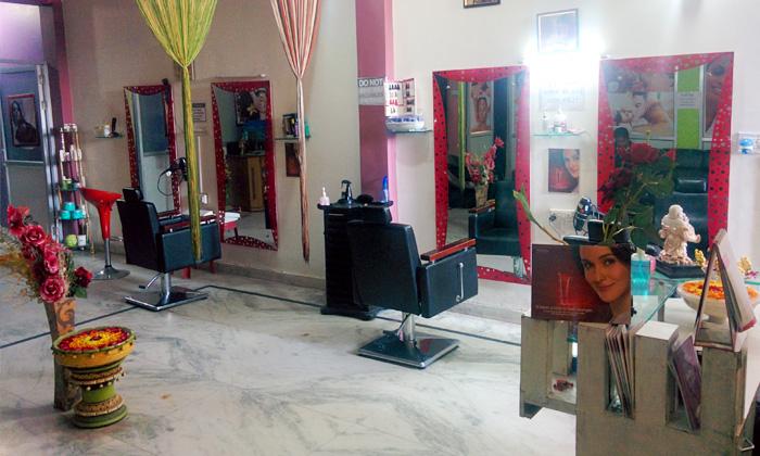 Haircut facial waxing more at new colours unisex salon for F salon vaishali nagar