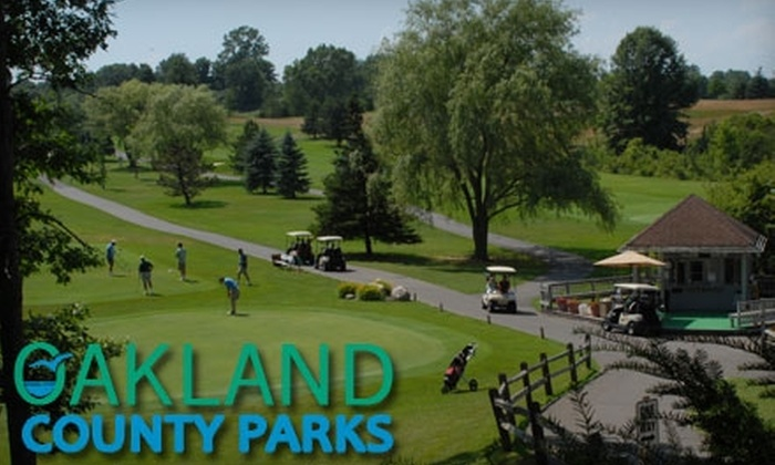 Oakland County Parks - Multiple Locations: Golfing with Cart Rental from Oakland County Parks. Choose from 18 Holes at Springfield Oaks or 9 Holes at Red Oaks.
