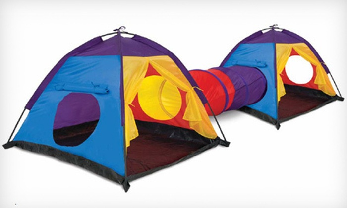 Discovery Kids Double-Dome Play Tent with Tunnel $24 for a Discovery Kids Double & $24 for a Double-Dome Play Tent with Tunnel | Groupon