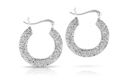 Swarovski Elements Crystal Studded Hoops in Sterling Silver