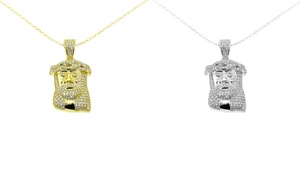 Jesus Pendant In Rhodium- Or Gold-plated Sterling Silver