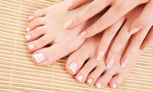 Nails By Honey: One or Two Basic or Shellac Mani-Pedis at Nails By Honey (Up to 58% Off)