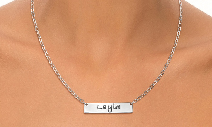 Joyali: One or Two Engraved Bar Necklaces from Joyali (Up to 54% Off)