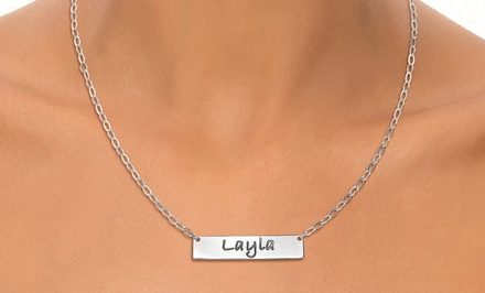 One or Two Engraved Bar Necklaces from Joyali (Up to 54% Off)