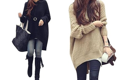 Women's Oversized Hooded Knit Top: One $25 or Two $40