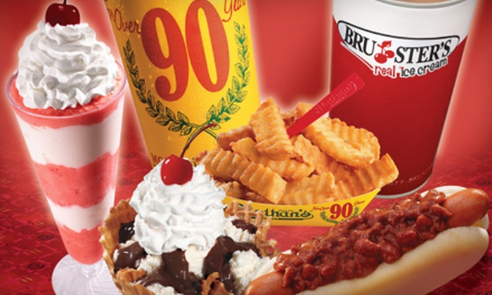 Bruster's Real Ice Cream and Nathan's Famous - Orlando: $10 for Two Groupons, Each Good for $10 Worth of Snacks at Bruster's Real Ice Cream and Nathan's Famous ($20 Value)