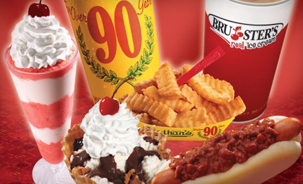 $10 for Two Groupons, Each Good for $10 Worth of Snacks at Bruster's Real Ice Cream and Nathan's Famous ($20 Value)