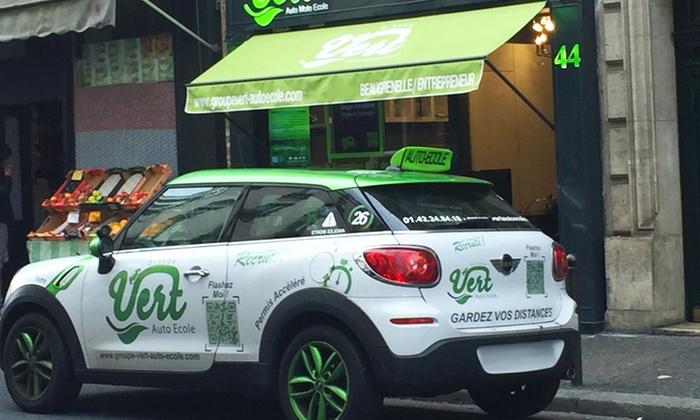 Groupe Vert Auto Ecole Beaugrenelle / Entrepreneurs - Plusieurs adresses: Forfait code 4 jours à 199 € avec le Groupe Vert auto-école, 4 centres au choix