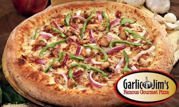 Garlic Jim's Famous Gourmet Pizza - Multiple Locations: $9 for $20 Worth of Specialty Pizzas, Wings, Ribs, and More at Garlic Jim's Famous Gourmet Pizza