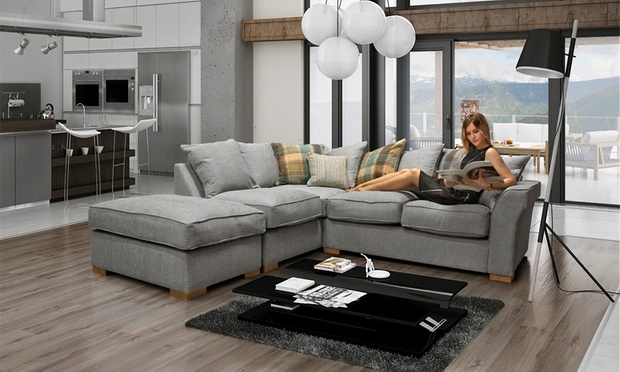 Hugo Corner Sofa With Scatter Back Cushions Footstool In Choice Of Colour For 499 99 With Free Delivery 50 Off