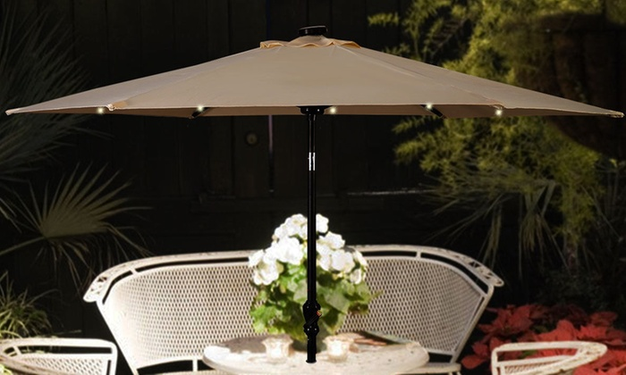 9 Ft Patio Umbrella With Solar Powered Led Lights And Hand Crank Groupon