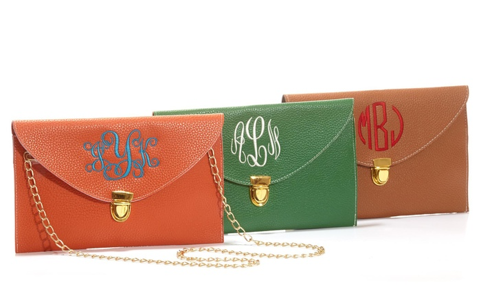 Social Monograms: Monogrammed Clutch with Smooth or Scalloped Edge from Social Monograms (60% Off)