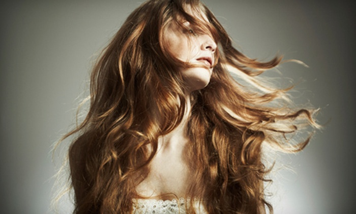 Hair People - Congress Park: Haircut Package with Deep Conditioning or Highlights or Three Shampoos with Blowouts at Hair People (Up to 61% Off)