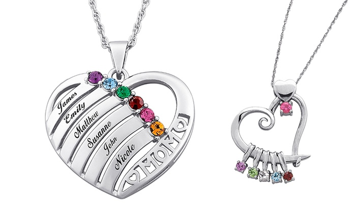 s birthstone gift mom kids name with silver heart names personalized in pendant necklace