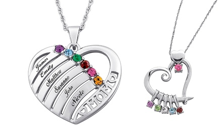 Mother's Custom Heart-Slider Birthstone Necklace or Heart and Birthstone Necklace from Limogés Jewelry (Up to 81% Off)