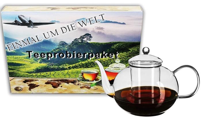 Tee-Set ''Einmal um die Welt'' und opt. 1.8 l Teeglaskanne mit Glasfilter (bis zu 31% sparen*)