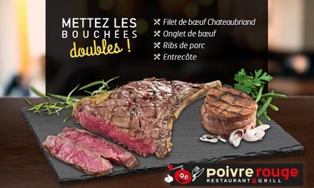 Pour 1€, une grillade de viande offerte pour une grillade de viande achetée chez Poivre Rouge