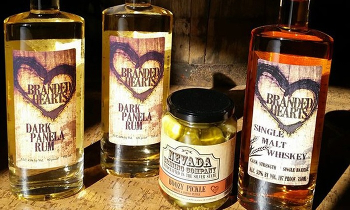 Branded Hearts Distillery, Inc. - Reno: Tour and Tasting with Cocktails and Shot Glasses for 5 or 10 at Branded Hearts Distillery (Up to 51% Off)