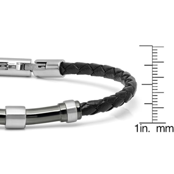 4c7af4be926fc Minoxia Men's Stainless Steel Bracelets Choices of Leather or Rubber  Stainless Steel