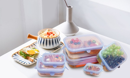 Reusable and Adjustable Rectangular Silicone Food Covers in a Choice of Colour: 6-Piece ($15) or 12-Piece Set ($25)
