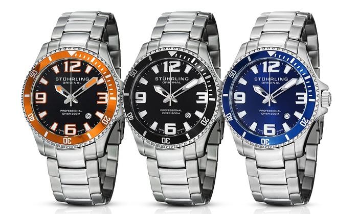 e3c81344d Stuhrling Original Men's Swiss Sport Aquadiver Watch | Groupon