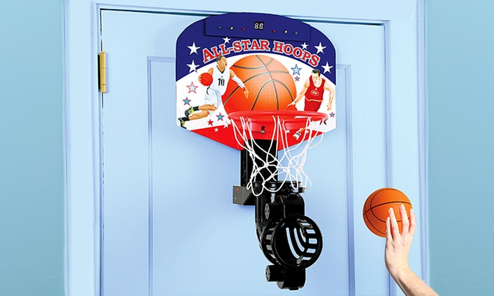 Over door electronic basketball game with automatic ball