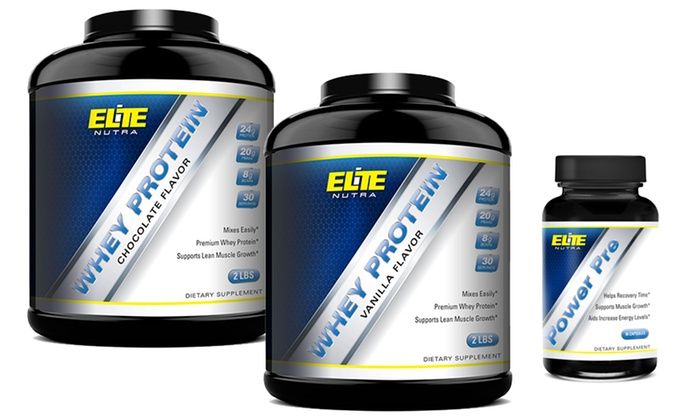 Elite Nutra Power Pre Supplements and Whey Protein Bundle : Elite Nutra Power Pre Supplements and Whey Protein Bundle in Chocolate or Vanilla Flavors