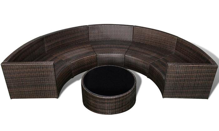 Salon jardin demi cercle en rotin groupon shopping - Salon de jardin en rotin demi cercle noir ...