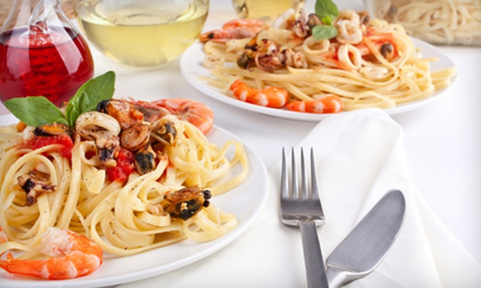 Bugatti Café - Astoria: Two-Course Upscale Italian Dinner with Wine for Two or Four at Bugatti Café in Astoria (Up to 68% Off)