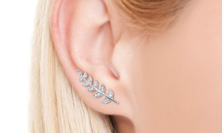 1/4 or 1/3 CTTW Diamond Ear Crawlers in Sterling Silver
