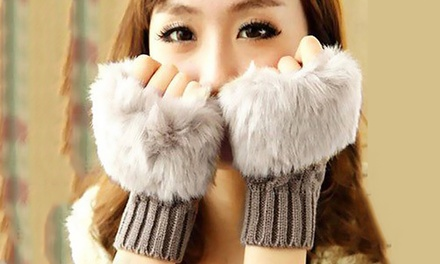 Up to Four Pairs of Furry Fingerless Fashion Gloves