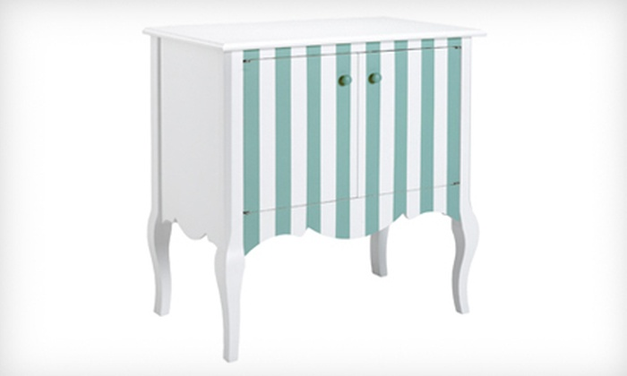 Home Decorators Collection: $249 for a Louisa Cabinet in White and Blue Stripe. Shipping Included ($449 Total Value).