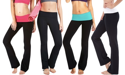 Women's Contrast Waistband Yoga Pants (3-Pack)