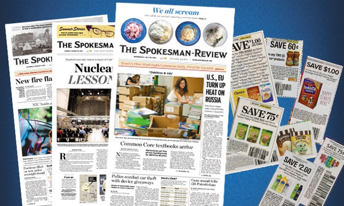 "The Spokesman-Review - Spokane / Coeur d'Alene: $19.99 for a 52-Week Wednesday, Saturday and Sunday Subscription to ""The Spokesman-Review"" ($166.40 Value)"