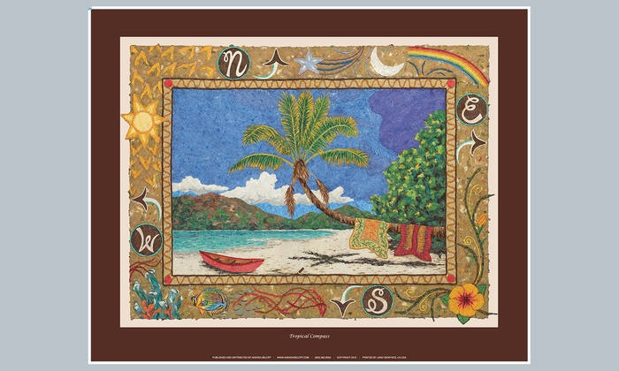 "Andrea Beloff Fine Art - Downtown Miami: $22 for ""Tropical Compass"" Signed Art Poster at Andrea Beloff Fine Art ($45 Value)"