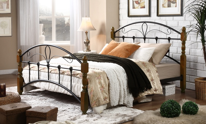 nova queen size antique bronze metal bed frame with sturdy walnut finish wood posts - Sturdy Bed Frames