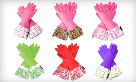 Pink Gloves with Leopard Cuff (a $19 value) - Gloveables Retro Kitchen Gloves in